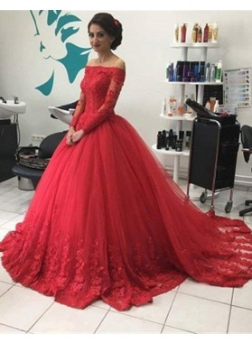 2021 Gorgeous Red Long Sleeve Off-the-Shoulder Lace Natural Ball Gown Tulle Prom Dresses
