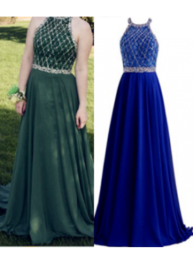 Chiffon A-Line/Princess Beaded Floor Length Royal Blue 2019 Prom Dresses