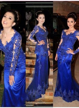 Charming Royal Blue Sheath Long Sleeves 2019 Prom Dresses