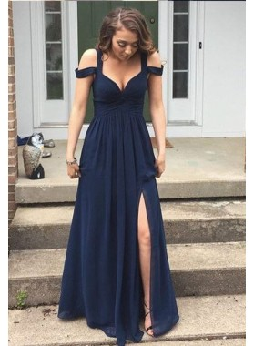 Navy Blue Straps Split Front Floor-Length/Long A-Line/Princess Chiffon Prom Dresses