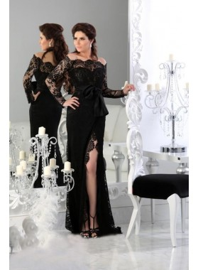 Black Long Sleeves Lace Off The Shoulder 2019 Prom Dresses