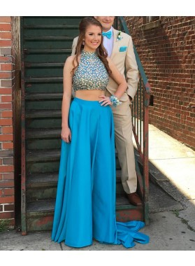 A-Line/Princess Blue Two Pieces 2019 Satin Prom Dresses
