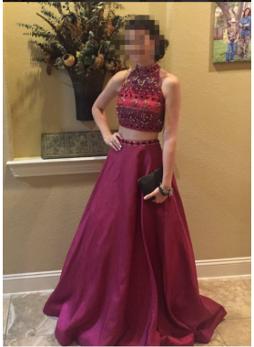 A-Line/Princess Satin Burgundy 2021 Two Pieces Prom Dresses
