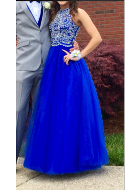 Newly A-Line/Princess Royal Blue Tulle 2019 Prom Dresses