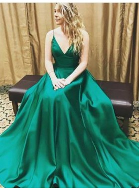 Spaghetti Straps A-Line/Princess Stretch Satin Green Prom Dresses