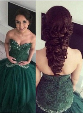 Beading Green Sweetheart Ball Gown Organza Prom Dresses