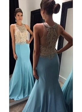2019 Blue Trumpet/Mermaid Satin Beaded Prom Dresses