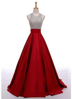 2019 Gorgeous Red Sequins Floor-Length/Long A-Line/Princess Satin Prom Dresses