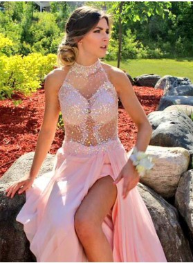 Cheap Pink Chiffon A-Line/Princess 2019 Beaded Prom Dresses