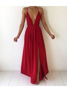 Charming A-Line/Princess Red Sweetheart Side Slit 2019 Prom Dresses