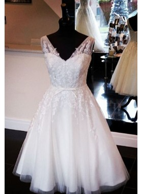 A Line Tulle Knee Length With Bowknot Belt 2020 Short Wedding Dresses
