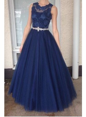 2020 A-Line/Princess Tulle Dark Navy Prom Dresses With Appliques