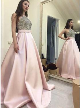 A-Line/Princess Satin Pin 2019 Cheap Prom Dresses