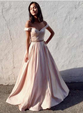 Charming A-Line/Princess Satin Off The Shoulder Blushing Pink 2021 Prom Dresses