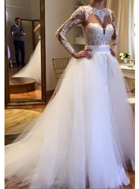 2020 Elegant A Line Long Sleeves Tulle With Appliques Wedding Dresses