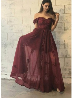 A-Line/Princess Burgundy Off The Shoulder 2021 Prom Dresses