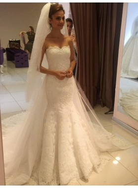 2020 High Quality Lace Sweetheart Long Wedding Dresses