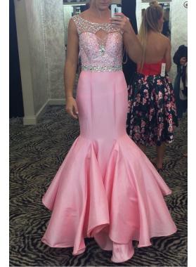 Sexy Trumpet/Mermaid Pink Satin Backless 2019 Prom Dresses