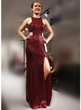 Burgundy Sequence Side Slit 2019 Prom Dresses