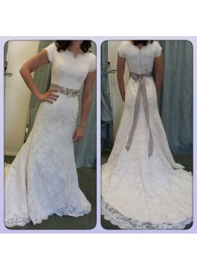 2021 Attractive Sheath Lace Wedding Dresses With Capped Sleeves Bowknot Belt