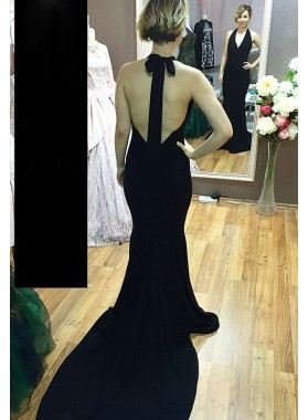 Trumpet/Mermaid Black Chiffon Halter Backless 2019 Prom Dresses