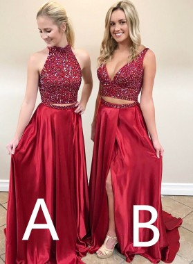 2019 Red A-Line/Princess Side Slit Two Pieces Prom Dresses