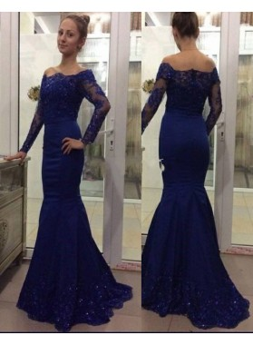 Trumpet/Mermaid Royal Blue Long Sleeves 2019 Prom Dresses