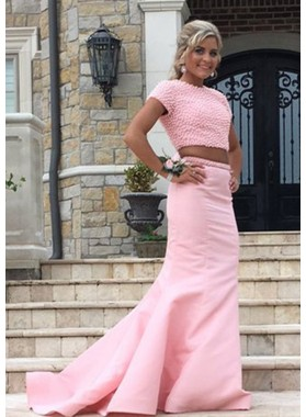 Trumpet/Mermaid Pink Two Pieces 2019 Prom Dresses With Short Sleeves