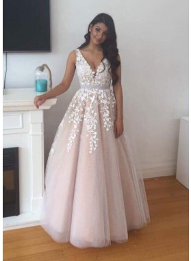 2021 Newly A-Line/Princess Tulle Pearl Pink Prom Dresses With Appliques