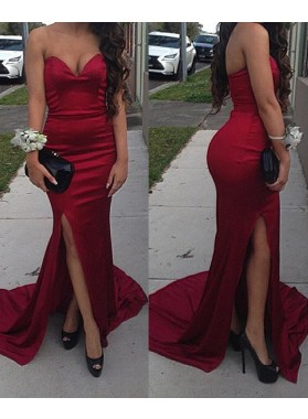 Sexy Trumpet/Mermaid Sweetheart Satin Side Slit Red 2021 Prom Dresses