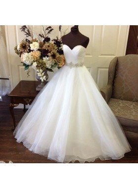 Cheap 2020 A Line Sweetheart Organza With Beaded Belt Wedding Dresses