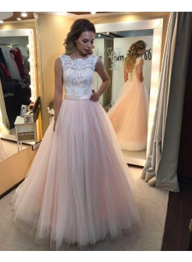 2021 Cheap A-Line/Princess Tulle Blushing Pink Prom Dresses With Appliques