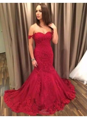 Sexy Trumpet/Mermaid 2019 Sweetheart Red Lace Prom Dresses
