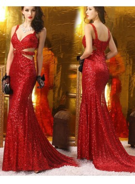 Sexy Trumpet/Mermaid Red Sweetheart Sequence 2019 Prom Dresses