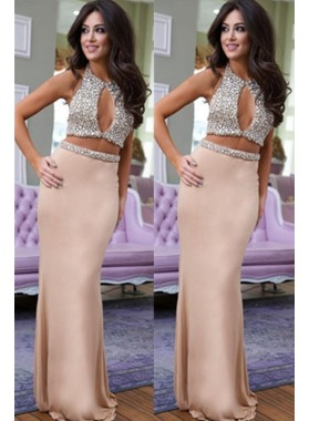 Champagne Two Pieces 2019 Beaded Prom Dresses