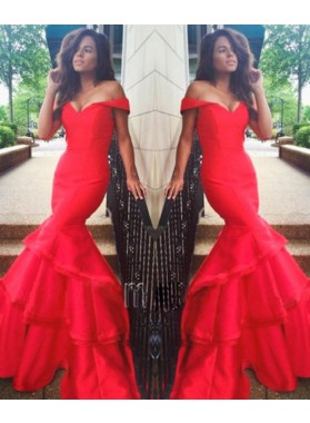 Sexy Trumpet/Mermaid Sweetheart 2021 Satin Prom Dresses Red