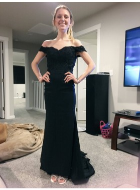 Elegant Sheath Satin Off The Shoulder 2019 Black Prom Dresses