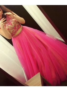 2019 A-Line/Princess Tulle Two Pieces Beaded Prom Dresses