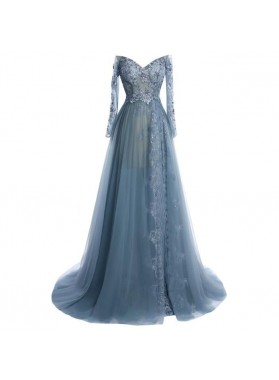 A-Line/Princess Tulle Long Sleeves Sweetheart 2021 Prom Dresses