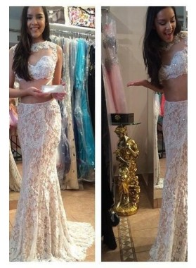 Sheath Lace Two Pieces White 2019 Prom Dresses