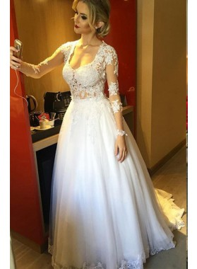 Elegant A Line Tulle With Appliques Long Sleeves 2020 Wedding Dresses