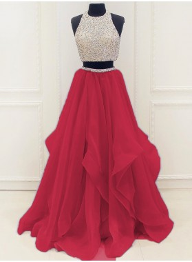 New Arrival A-Line/Princess Organza Red Two Pieces 2021 Prom Dresses