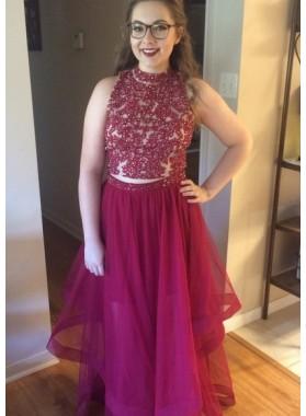 Cheap A-Line/Princess Burgundy Two Pieces 2019 Prom Dresses