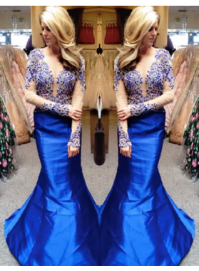 Sexy Trumpet/Mermaid Satin Royal Blue Long Sleeves 2019 Prom Dresses