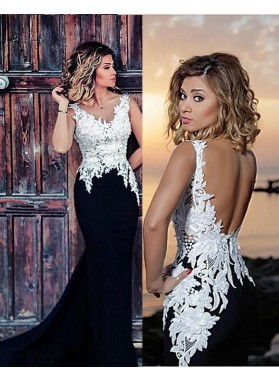 Charming Trumpet/Mermaid Black With White Appliques 2019 Prom Dresses