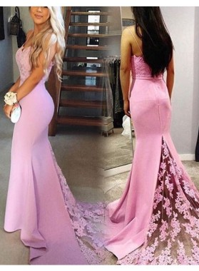 2021 Trumpet/Mermaid Pink Sexy Sweetheart Prom Dresses Lace