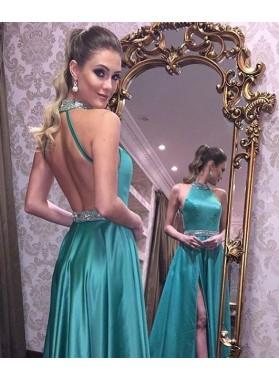 A-Line/Princess Satin Backless Side Slit 2018 Jade Prom Dresses