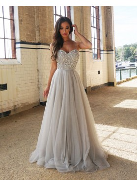 Elegant A-Line/Princess Sweetheart Beaded Tulle Silver 2018 Prom Dresses