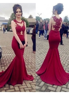 Sexy Trumpet/Mermaid Red Satin 2019 Prom Dresses With Appliques