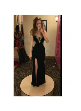 2019 Black Sheath Side Slit Prom Dresses